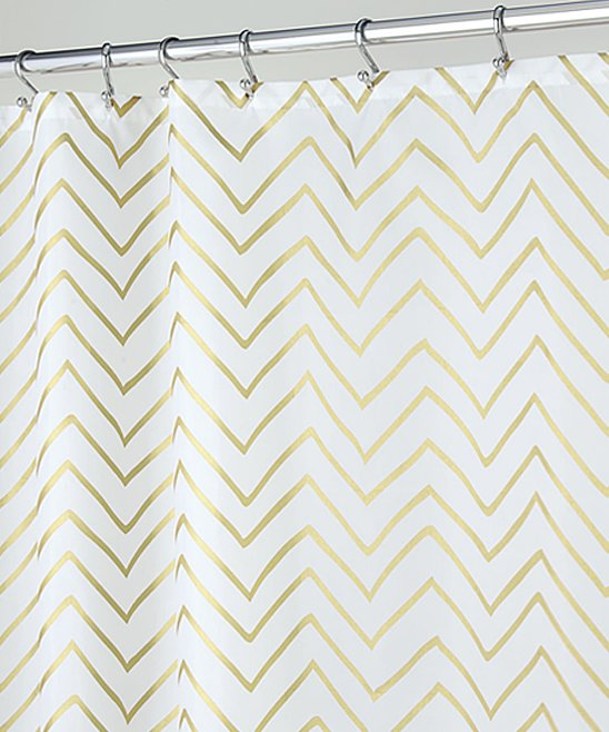 IDesign Gold Sketched Chevron Shower Curtain