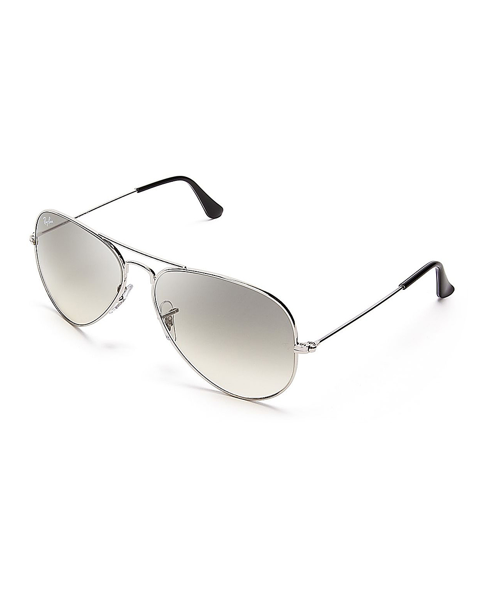 429c895153e88 Ray-Ban Silver   Crystal Gray Gradient Aviator Sunglasses - Unisex ...