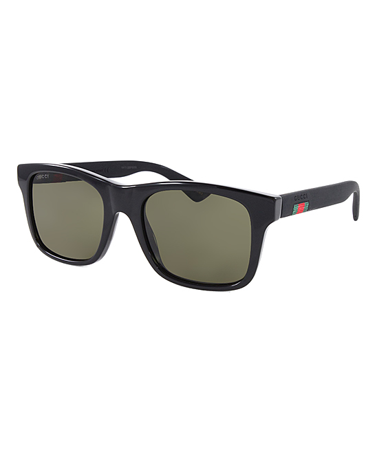 Green & Black Square Sunglasses - Men Green & Black Square Sunglasses - Men. Bring attitude to your sunny day wardrobe with these timeless square frame sunglasses.Includes sunglasses, cleaning cloth and caseLens width: 53 mmBridge distance: 20 mmArm length: 145 mmPlastic100% UV protectionImported