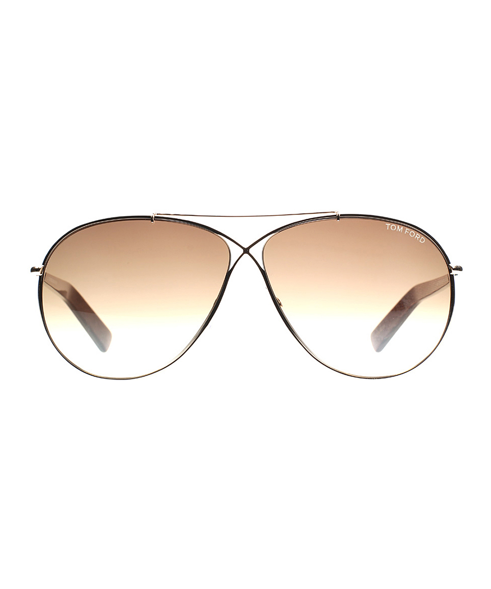 46b0af63bf088 Tom Ford Gold   Brown Horn Eva Aviator Sunglasses - Unisex