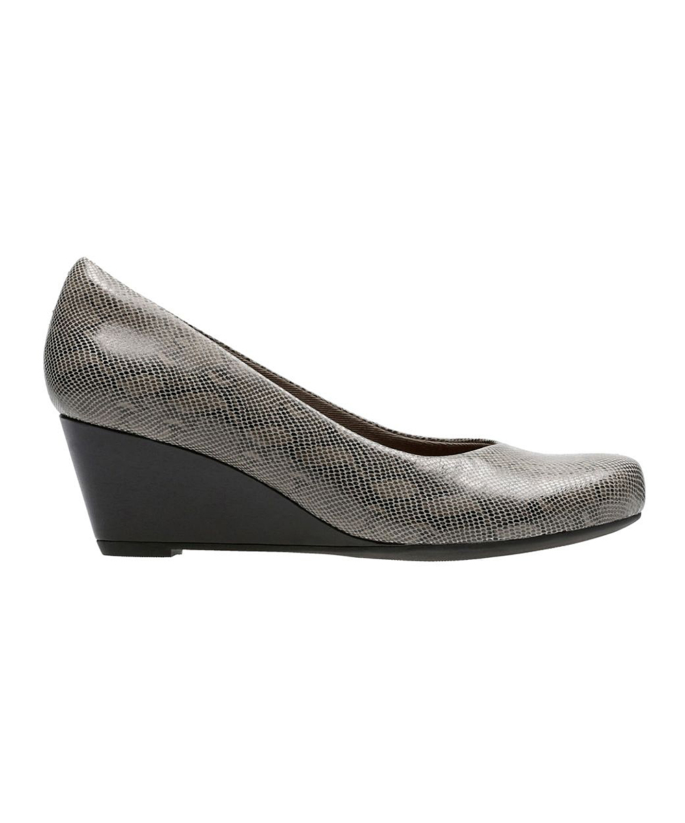 e9902eecec9d love this product Stone Snake-Print Flores Tulip Leather Wedge - Women
