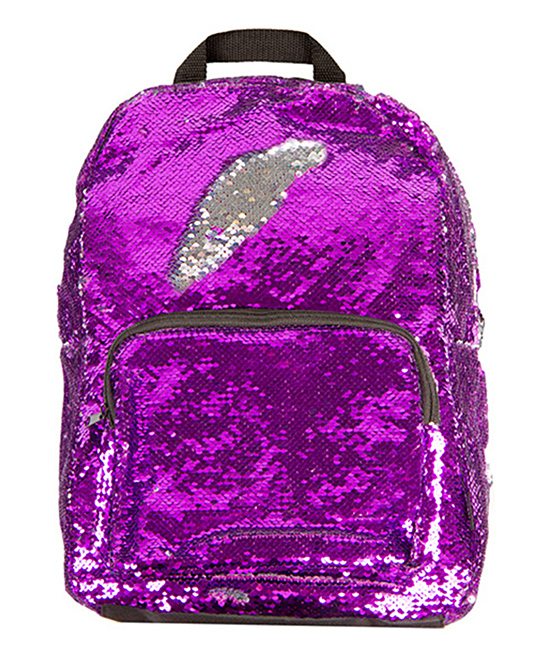 Purple & Silver Magic Sequin 16.5'' Backpack Purple & Silver Magic Sequin 16.5'' Backpack. Sparkling and covered in color-changing sequins, this glamorous backpack totes your studious little one's gear in showstopping style.12.25'' W x 16.5'' H x 7'' DSequinsPadded shoulder strapsInterior: laptop sleeveExterior: zip pocketImported