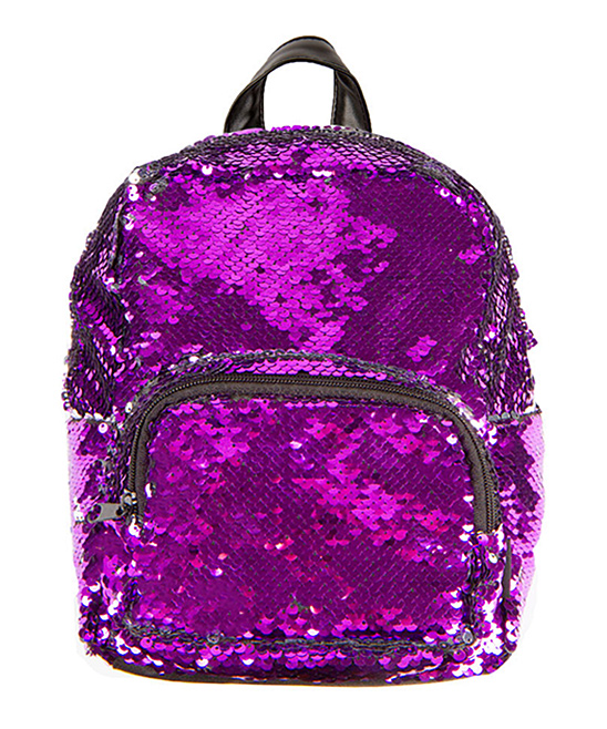 Purple & Silver Magic Sequin 10'' Backpack Purple & Silver Magic Sequin 10'' Backpack. Sparkling and covered in color-changing sequins, this glamorous backpack totes your studious little one's gear in showstopping style. 8.25'' W x 10'' H x 4.25'' DAdjustable padded strapsExterior: zip pocketImported