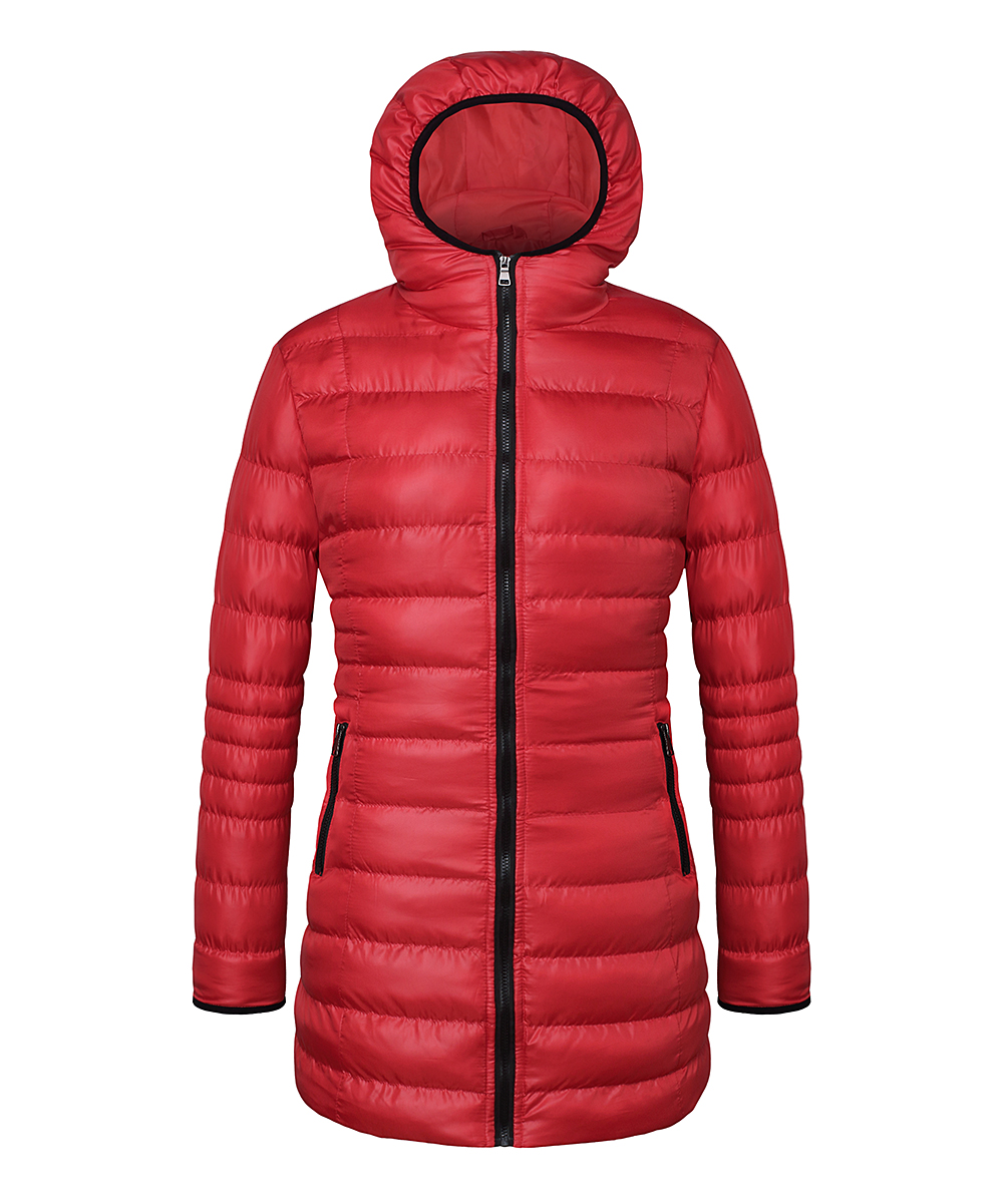 c8c5ffe4ddb64 The Whole Shebang High Risk Red Hooded Long Puffer Coat - Plus