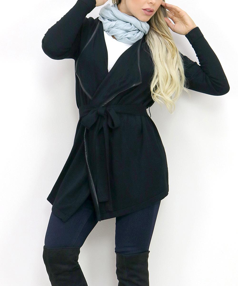 9e8e921d96 OhConcept Collection Black Faux Leather-Trim Wrap Cardigan - Women ...