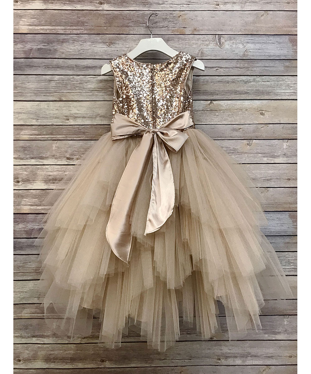5e5c51a0d31 ... Girls Champagne Champagne Sequin   Tulle Tutu Dress - Alternate Image 2