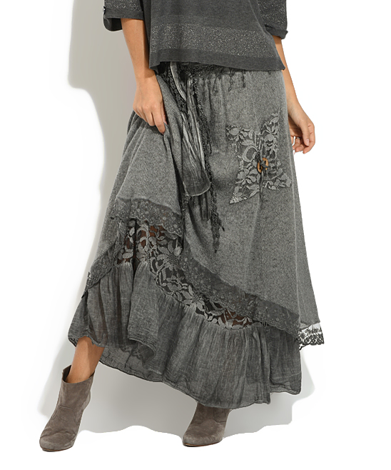 da447db404 ... Womens GREY Gray Lace Double-Layer Maxi Skirt - Alternate Image 3