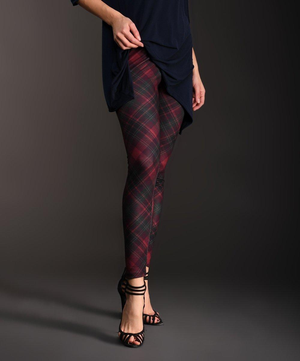 e0fb62770c1bb Lbisse Dark Red & Green Plaid Leggings - Women | Zulily