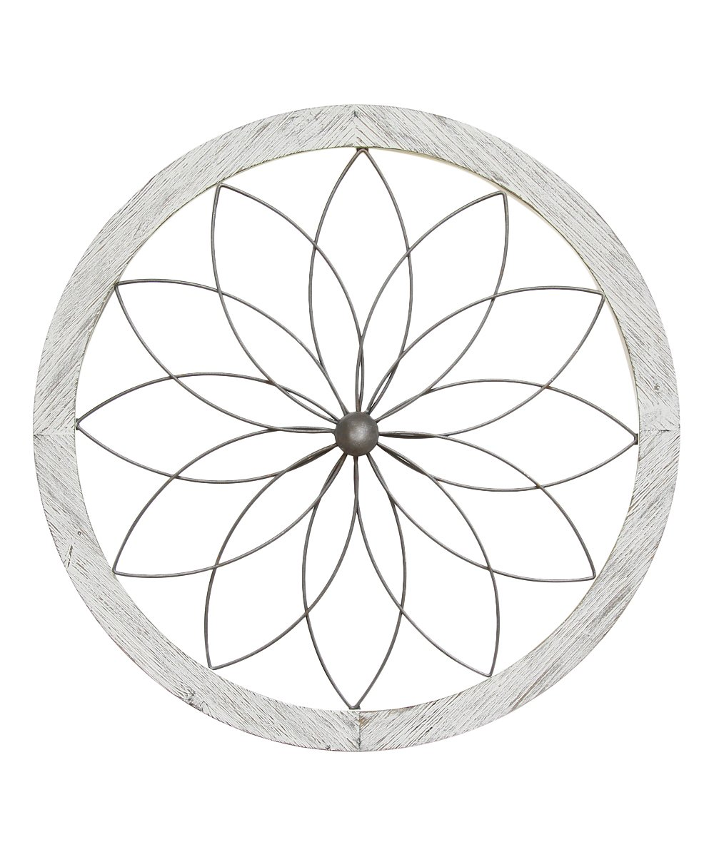 Stratton Home Decor  Typography Wall Decor White - Flower Art Deco Wall Decor Flower Art Deco Wall Decor. Accent your space with eye-catching vintage flair courtesy of this intricate wall decor. 25.75'' diameterMetal / medium-density fiberboard / woodReady to hangImported