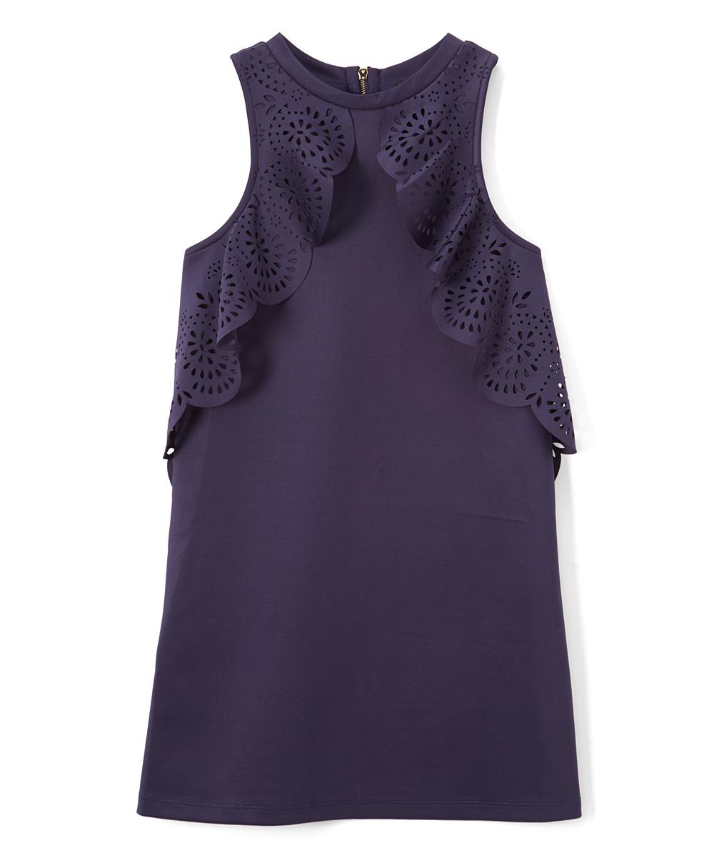 1fed5a1d2fdbd Baby Sara Navy Laser Lace-Accent Sleeveless Shift Dress - Girls