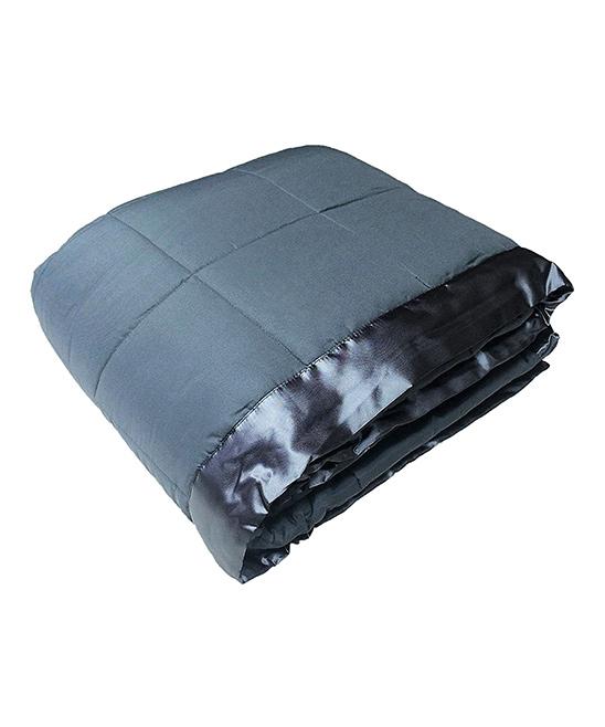 Steel Gray Satin-Trim All-Season Quilted Down Alternative Blanket