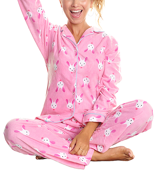 74fd43444 Angelina Pink Bunny Fleece Pajama Set - Women | Zulily
