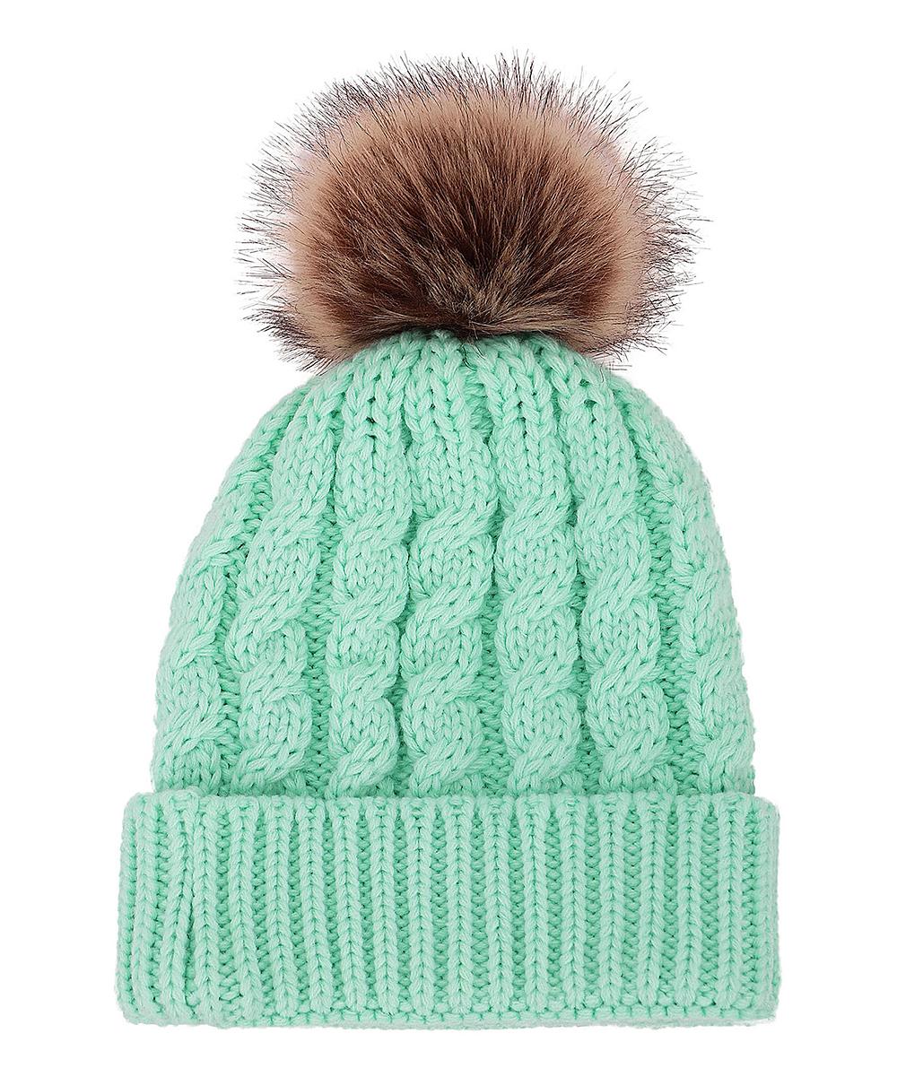 2c0db3409 Simplicity Light Green Cable-Knit Faux-Fur Pom-Pom Beanie - Women