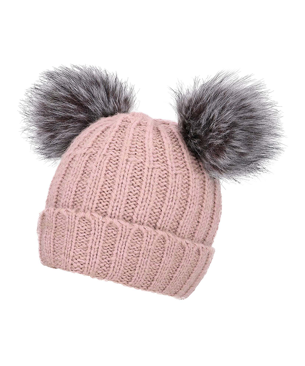 13065148025 ... Womens Pink with Grey Pompom and Beige Lining Pink   Gray Cable-Knit  Faux- ...