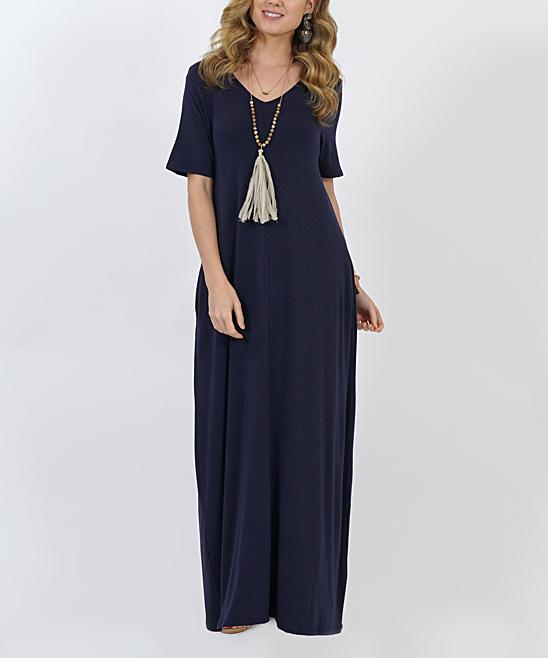 69fddf02a103 5 viewing. Navy V-Neck Short-Sleeve Side-Pocket Maxi Dress ...