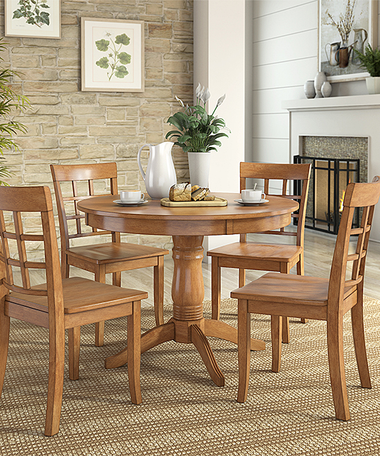 HomeBelle Oak Finish Window-Back Chair Round Five-Piece Dining Table ... 2248764d3