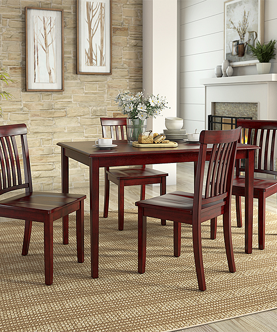 HomeBelle Berry Red Mission-Back Chair Five-Piece Dining Table Set ... 220aea827
