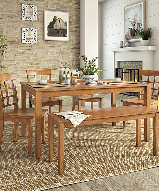 HomeBelle Oak Finish Window-Back Chair Six-Piece Dining Table Set ... eb62d6daf