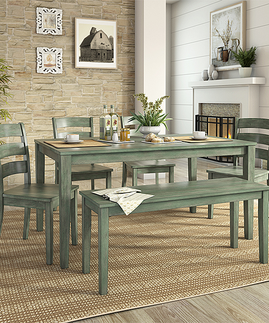 HomeBelle Dark Sea Green Ladder Back Chair Six Piece Dining Table Set