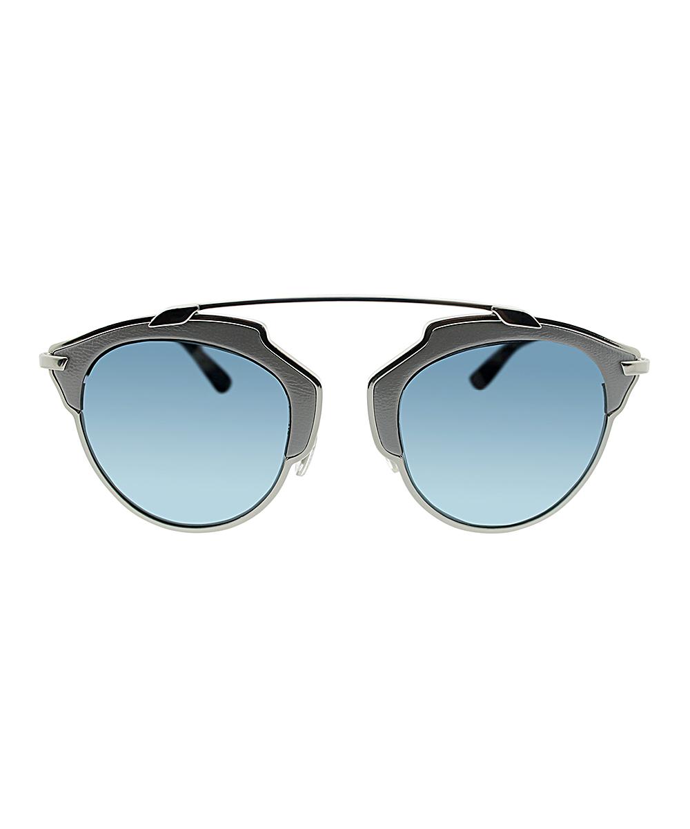 db7858e175b58 ... Womens Gray   Blue Gradient Bridgeless Browline Sunglasses - Alternate  Image ...