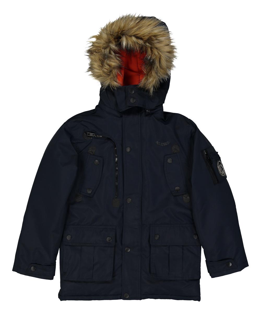 b028317b2 Diesel Dark Blue Faux Fur Hooded Jacket - Toddler   Boys
