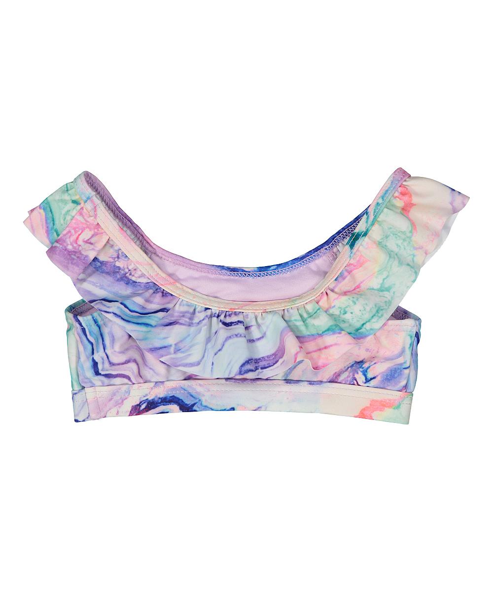 0febd487a93 Envya Swimwear Pink & Blue Marble Ruffle-Trim Bikini - Girls | Zulily
