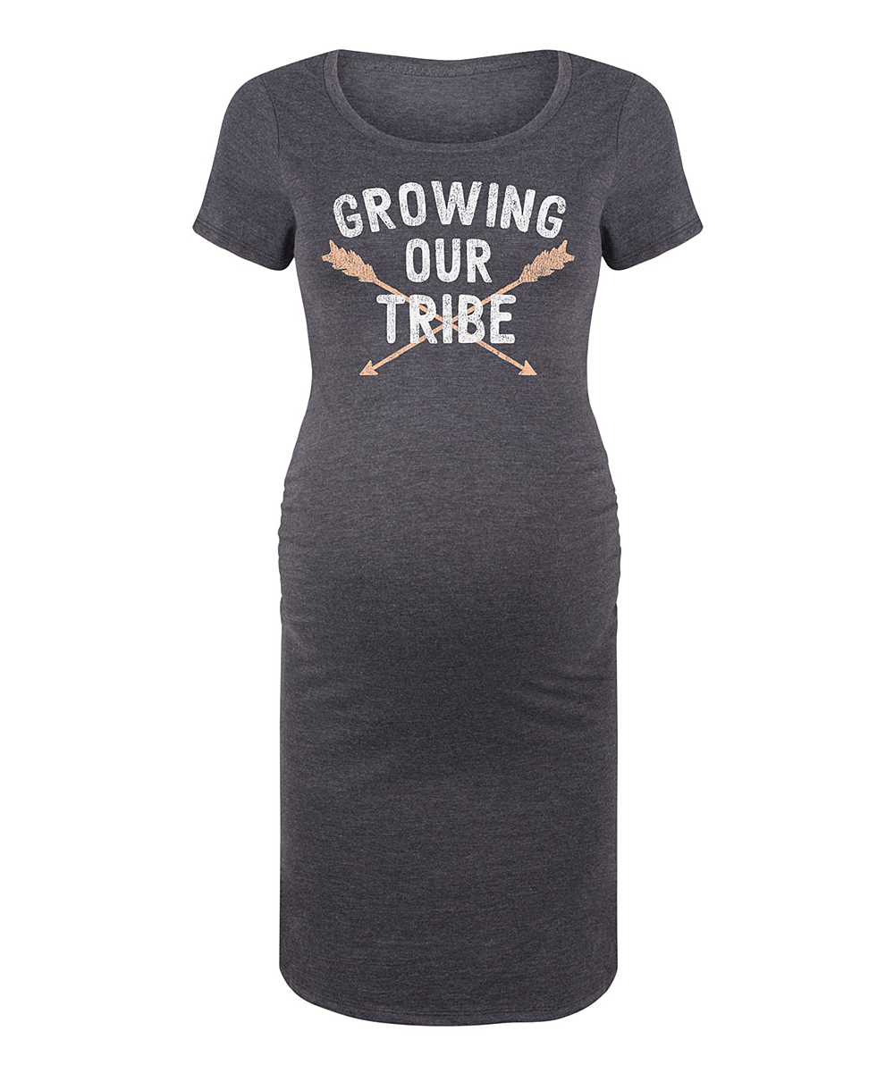 0f5d37477cfed Bloom Maternity Heather Charcoal Growing Our Tribe Maternity T-Shirt ...