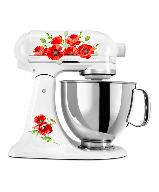 Watercolor Poppies Mixer Decal Set Watercolor Poppies Mixer Decal Set. Bring a pinch of culinary personality to your kitchen set with this set of bright stickers for your mixer. Decal designed for 4-qt. mixer onlyMixer not includedSheet: 9'' W x 7'' HAdhesive vinyl