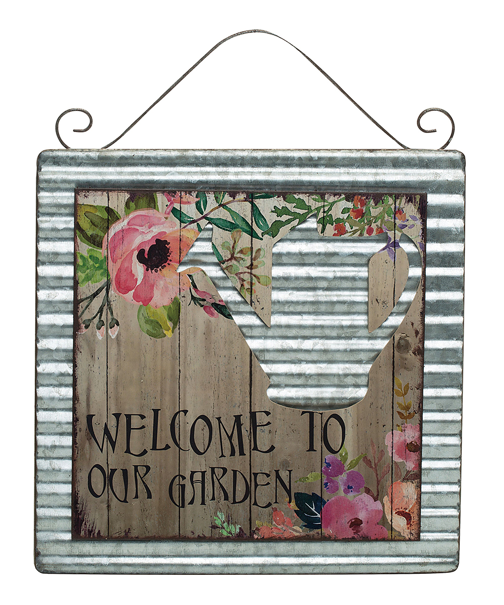 Transpac  Outdoor Wall Decor  - 'Welcome to Our Garden' Galvanized Wall Hang