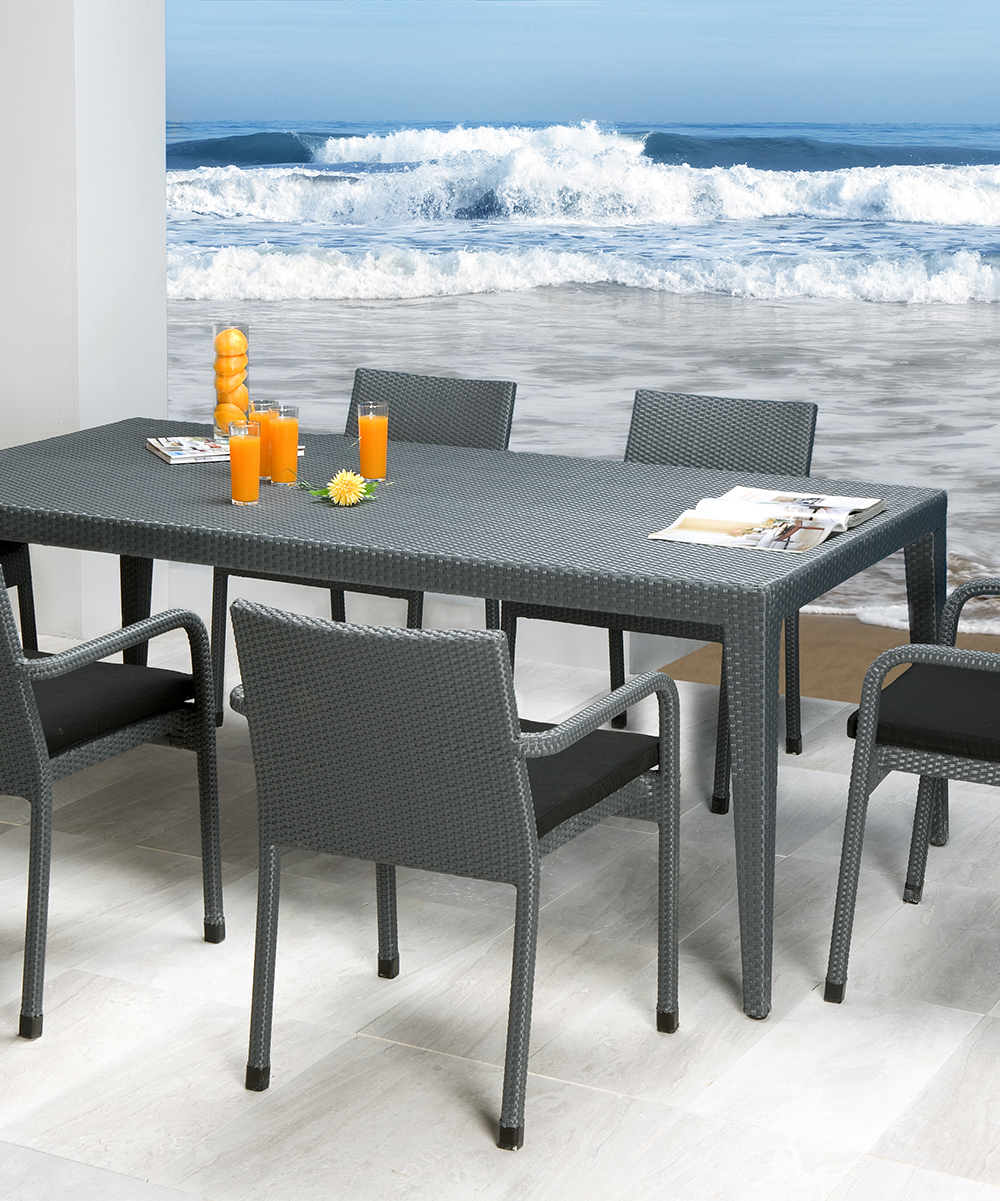 Panama Jack Onyx Seven-Piece Dining Table Set  ef098a71e