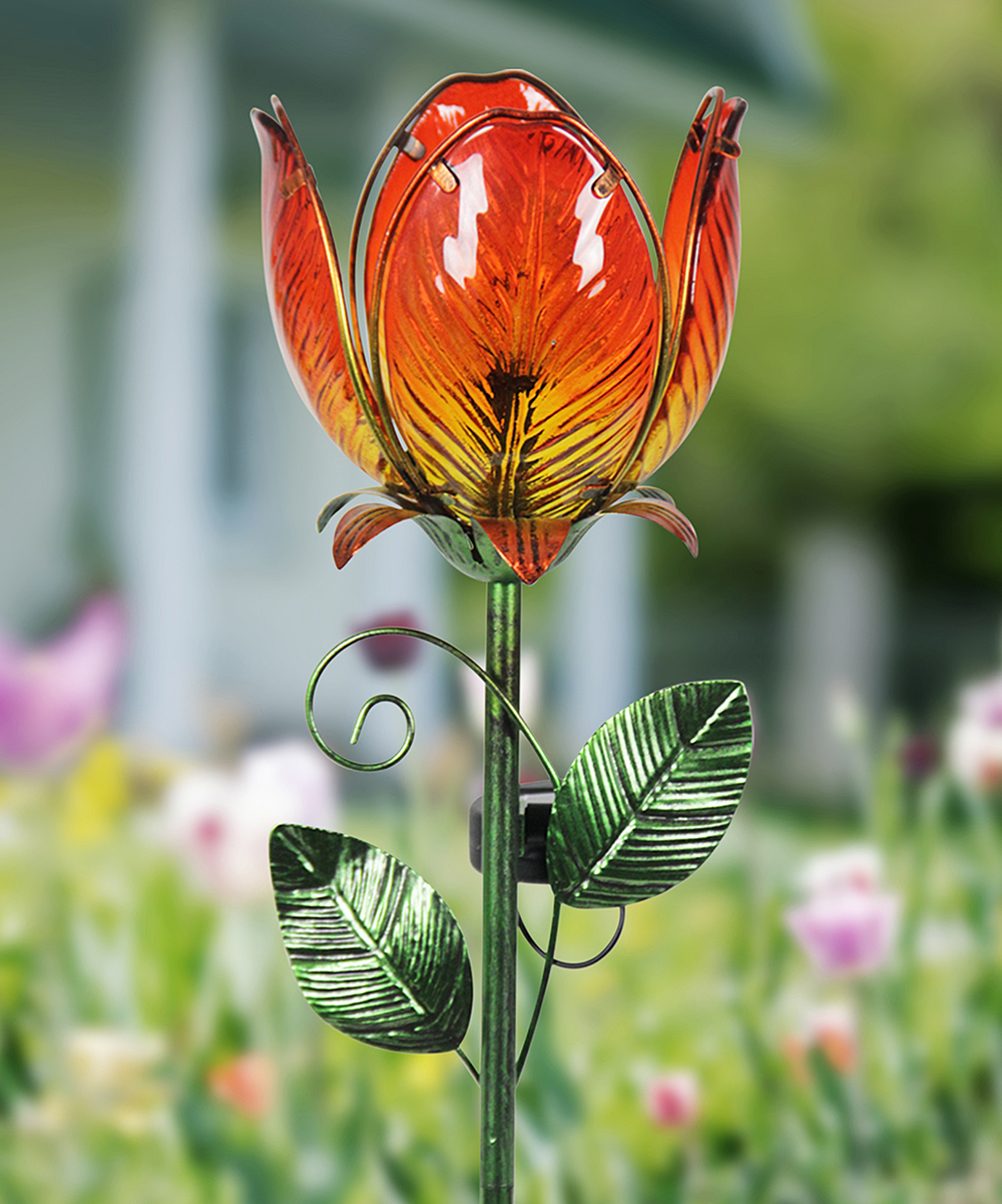 Orange Solar Flower Garden Stake