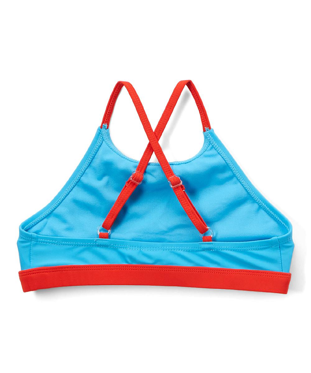 cc7d421132 ... Girls #635 - BLU/UNICORN Blue & Red Unicorn High-Neck Bikini Top