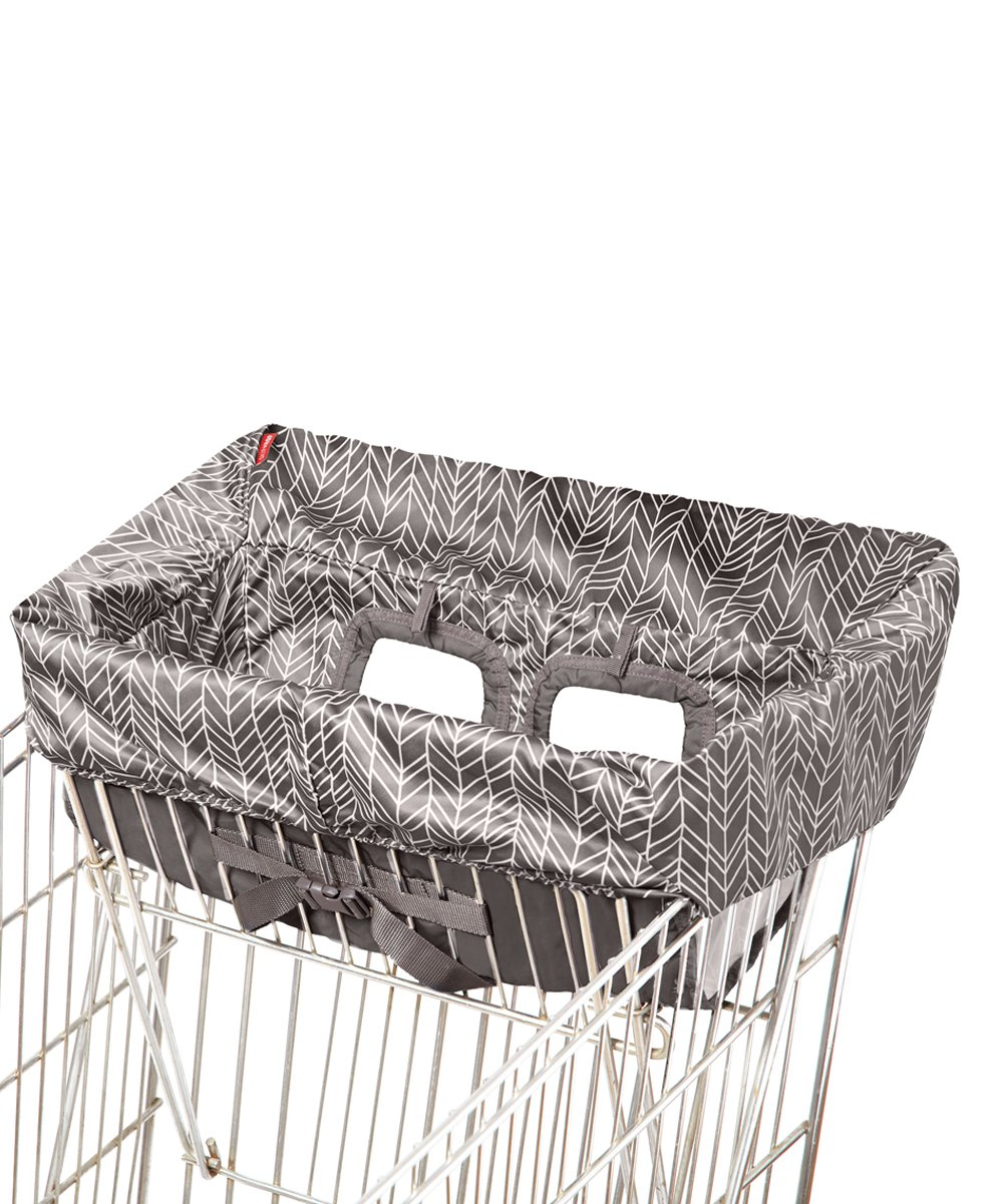 Skip Hop  Shopping Cart and High Chair Covers TAKE - Gray Feather Shopping Cart Cover Gray Feather Shopping Cart Cover. Bring extra comfort to out-and-about activities with this soft shopping cart cover that slips on easily to most shopping carts or high chairs. The snap open loop enables it to hang from a stroller for convenient storage. Fits most shopping carts and restaurant-style high chairs12'' W x 7'' H x 20'' DCollapsibleSnap-open loop for convenient carryingExtra-soft fabricBPA-free / PVC-free / phthalate-freeMachine washImported