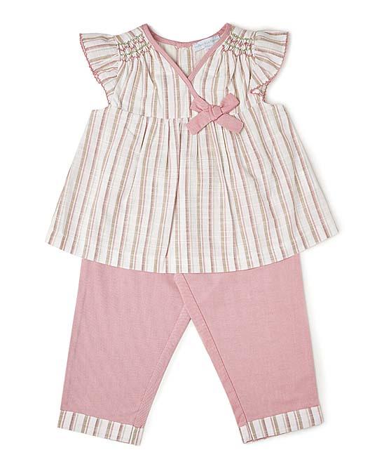 6a51696a064 La Fleur   Le Papillon Pink Stripe Angel-Sleeve Linen Top   Pants ...