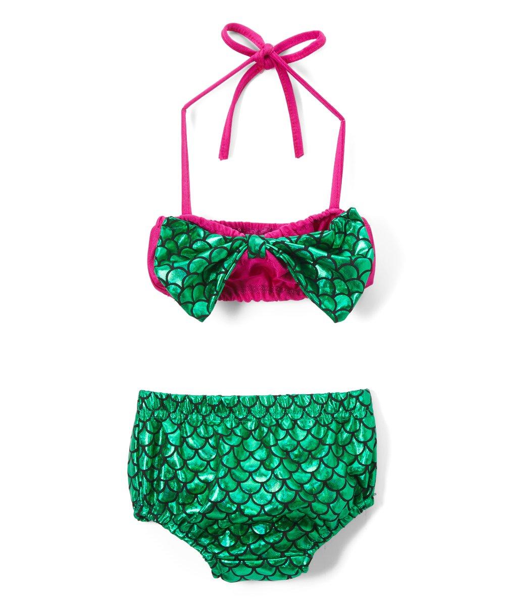 1e06edd4cb wind + thistle Green   Fuchsia Mermaid Bow-Accent Bikini - Infant ...