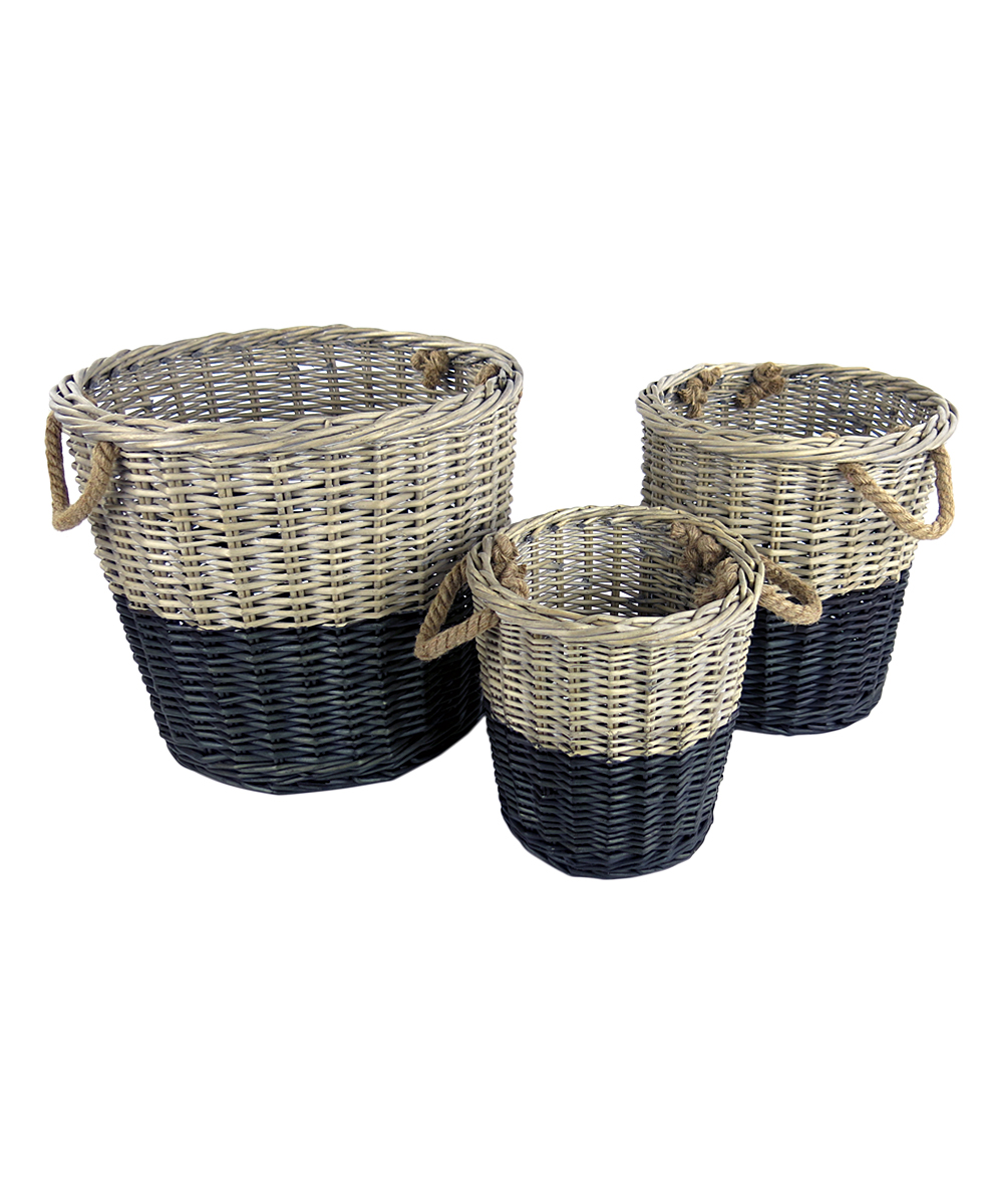 Vagabond Vintage Black-Dipped Round Willow Basket - Set of Three ...