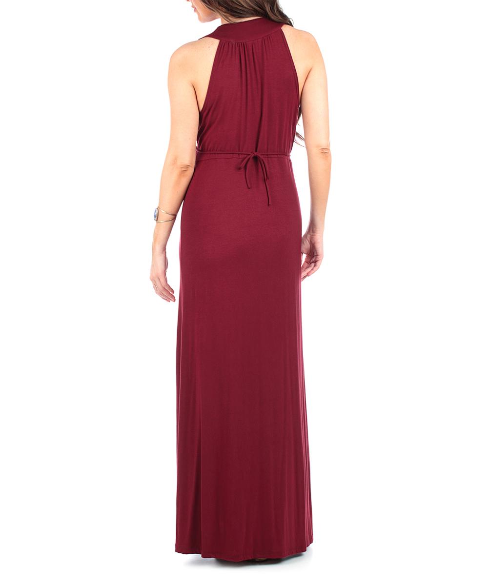 827122ca0843a ... Womens Burgundy Burgundy Sleeveless Empire-Waist Maternity Maxi Dress -  Alternate Image 2