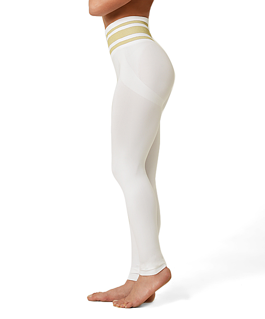 c1ab300296409 SANKOM® White & Gold Graduated Compression Leggings - Women | Zulily