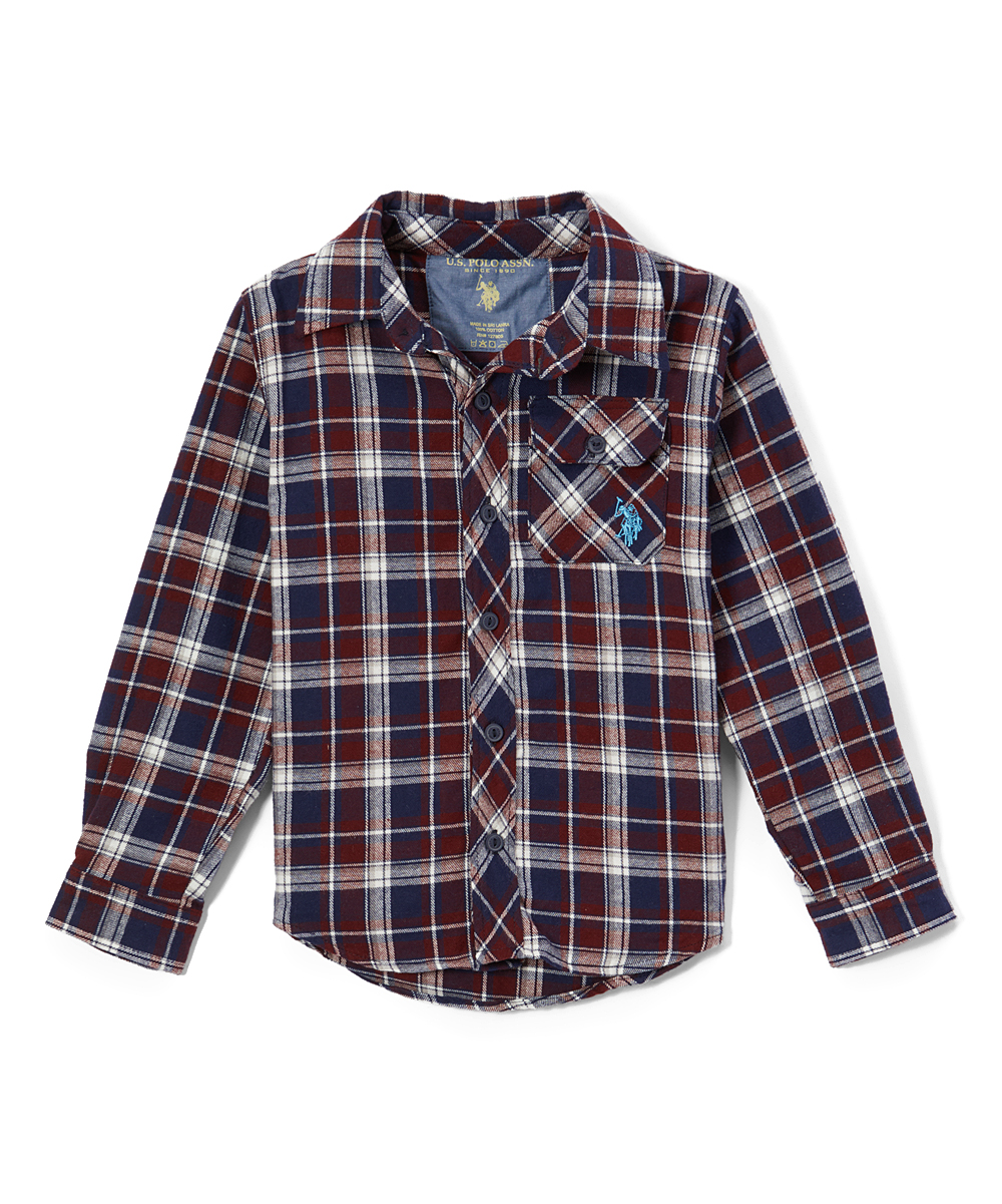 8206f84b U.S. Polo Assn. Classic Navy Plaid Flannel Roll-Up Button-Up ...