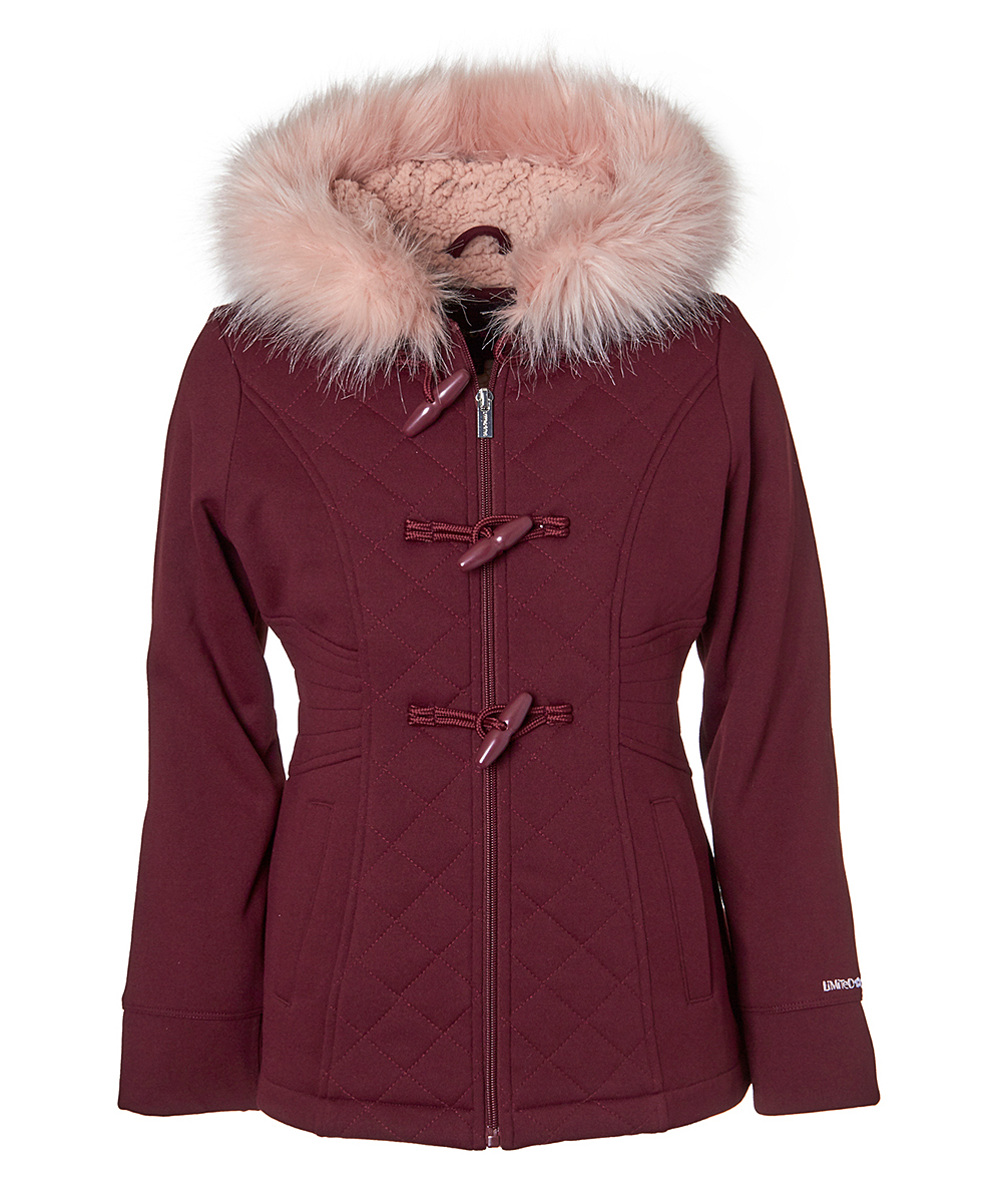 b0b1c71b5d19 Limited Too Burgundy Faux Fur-Trim Quilted Jacket - Toddler