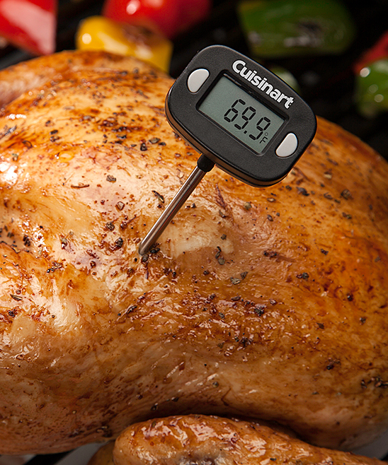 Instant Read Digital Thermometer Instant Read Digital Thermometer. Gauge the internal temperature of your culinary creations with this easy-to-read digital thermometer made of durable stainless steel. Includes thermometer, cover and battery9.9'' LDigital LCD displayStainless steelSpot cleanImported