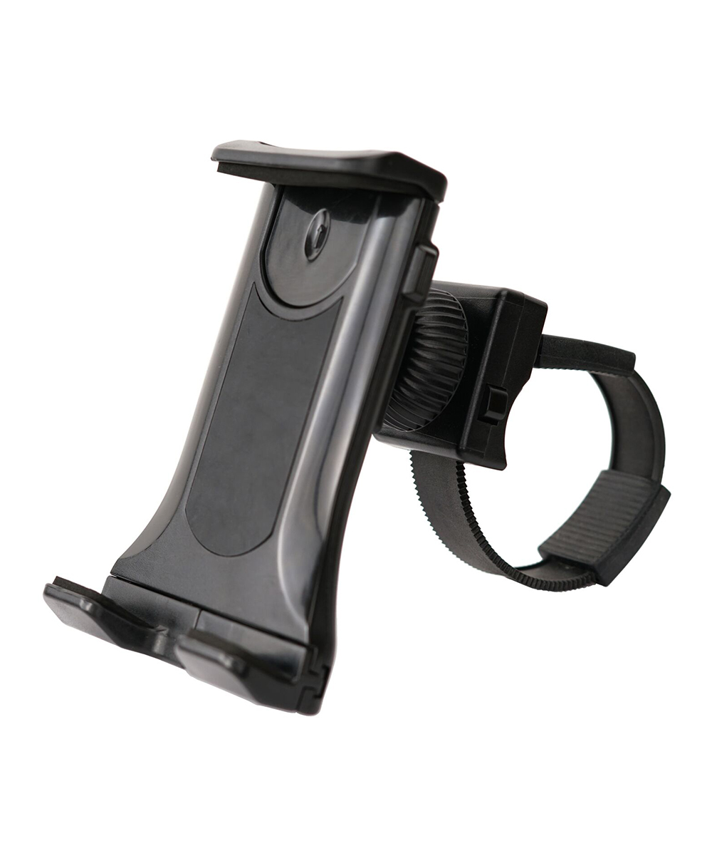 Universal Exercise Bike Mount Phone/Tablet Holder Universal Exercise Bike Mount Phone/Tablet Holder. Snap your mobile device onto your exercise bike and watch or listen as you ride your way to fitness. 5.24'' W x 3.15'' H x 3.54'' DPlasticImported