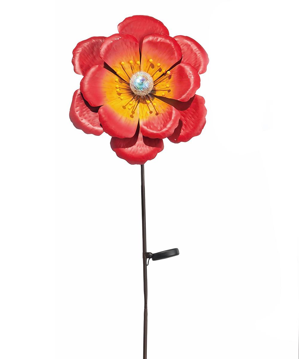 Red Flower Solar Garden Stake