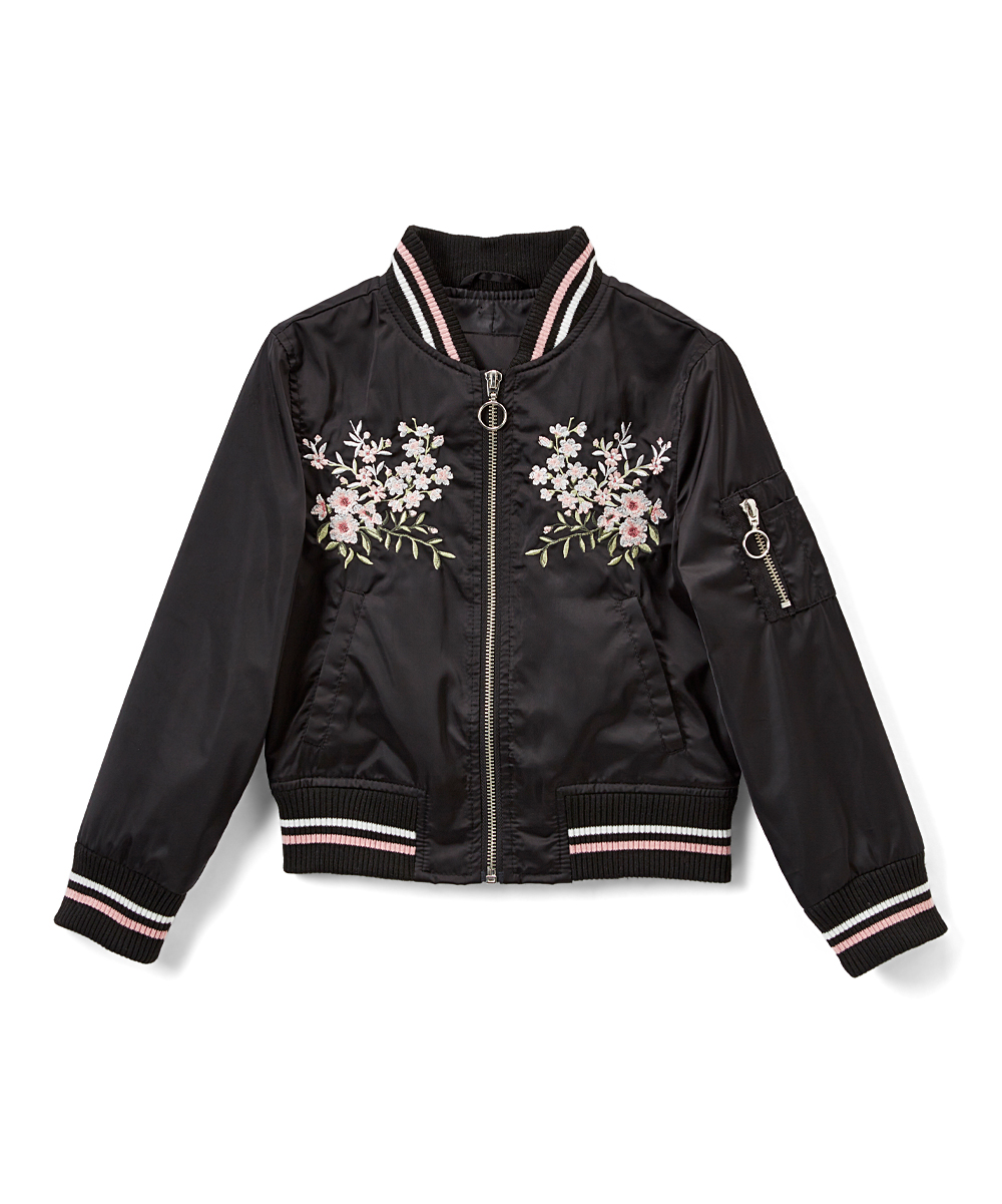 d003fae9cf6c Urban Republic Black Floral-Embroidered Sateen Bomber Jacket - Girls ...