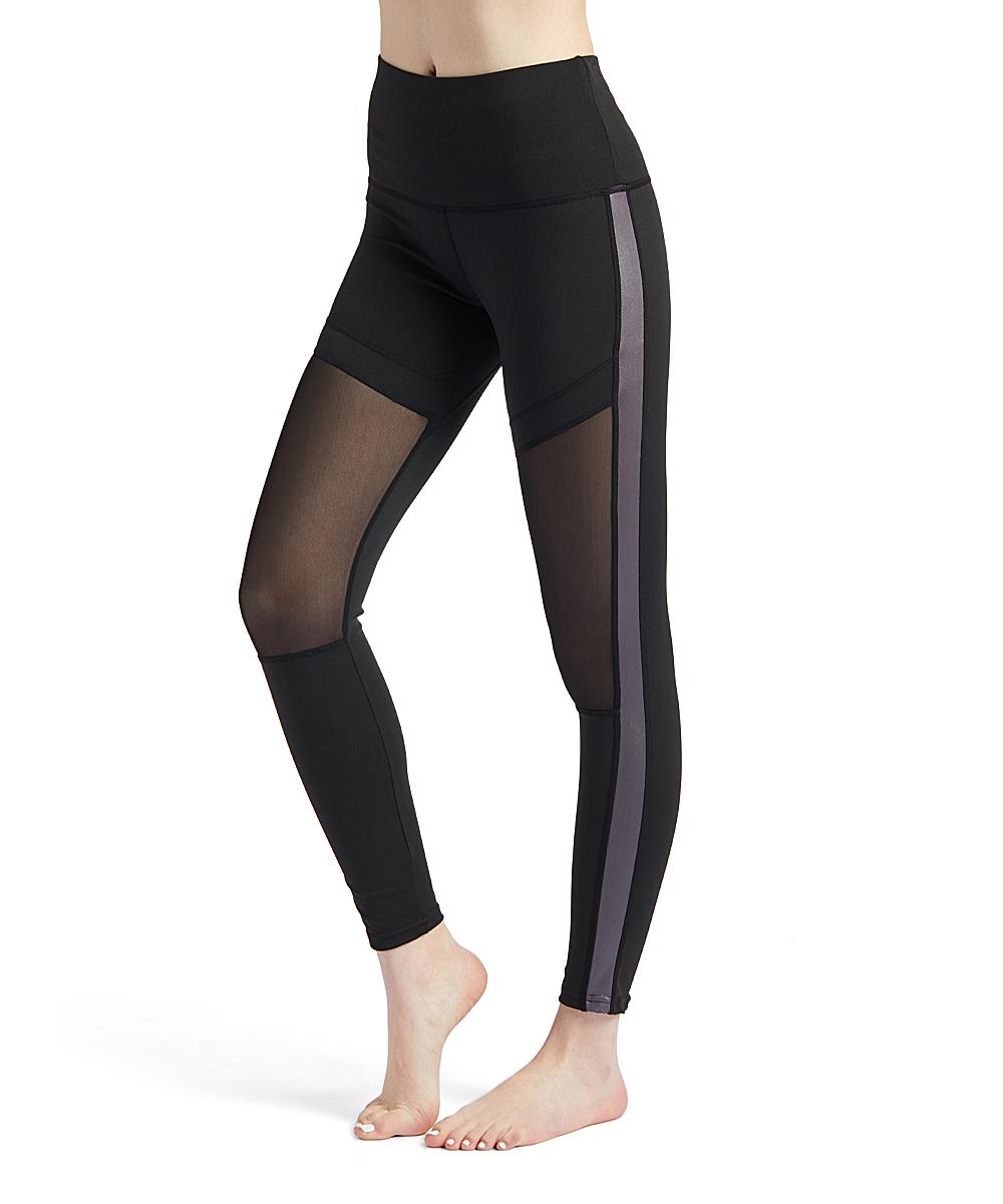 8435842494d5c6 S2 Sportswear Black Metallic Side-Stripe Mesh-Panel Leggings - Women ...