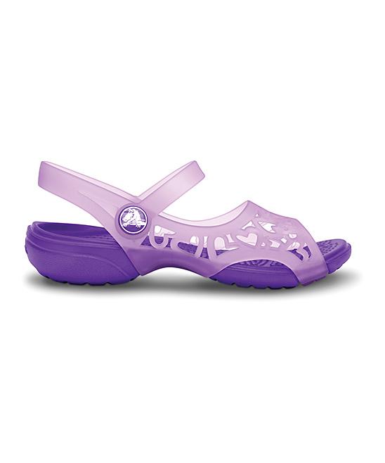 44625ac4c42f Crocs Iris   Neon Purple Adrina Hearts Sandal - Kids