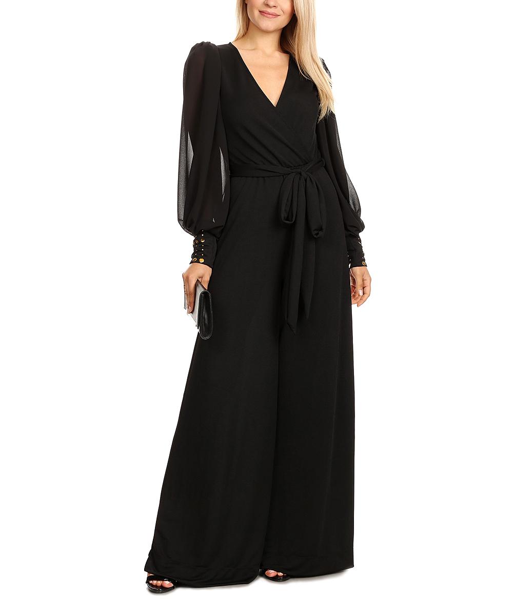 Karen T. Design Women's Jumpsuits BLACK - Black and Black Black Button-Sleeve Bishop-Sleeve Jumpsuit - Plus