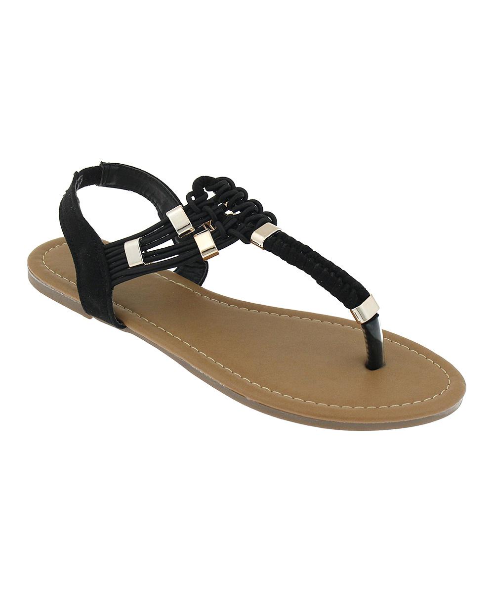 Capelli New York Women's Sandals Black - Black T-Strap Sandal - Women
