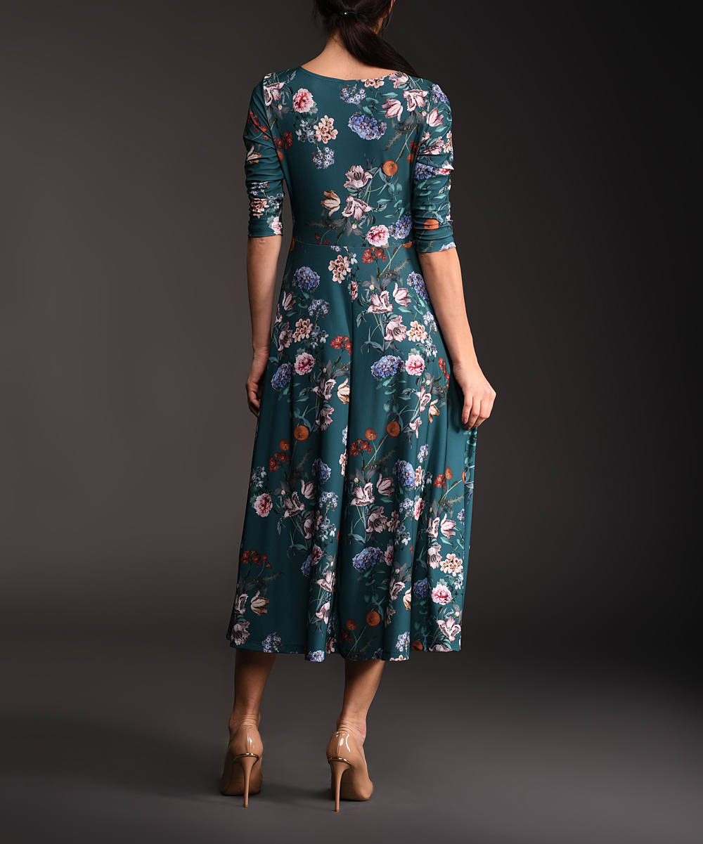 87e22f6cc35 ... Womens Multi Color Dark Teal Floral Three-Quarter Sleeve Midi Dress -  Alternate Image 3