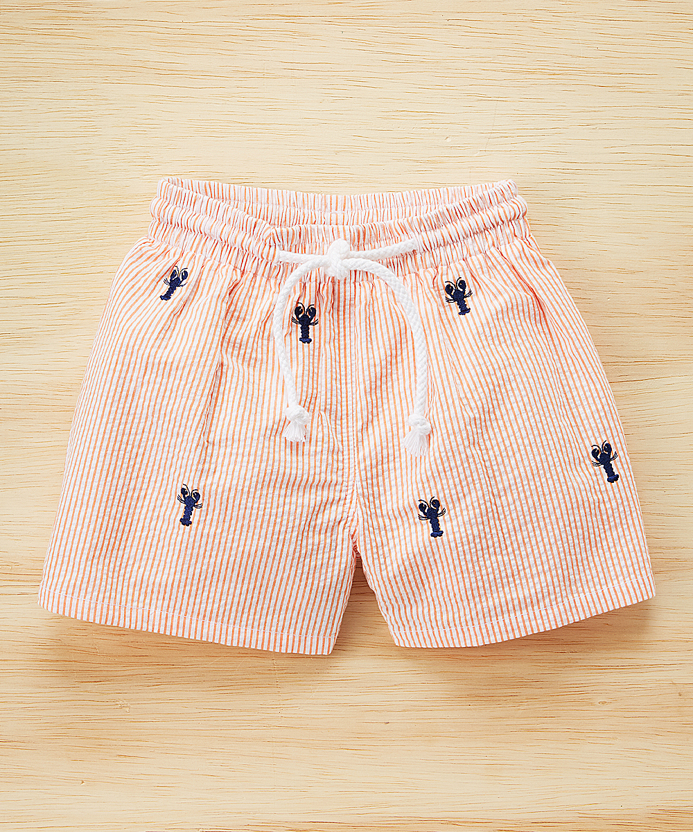 536a1bf3e320 K L Peach Lobster Embroidered Swim Trunks - Infant   Toddler